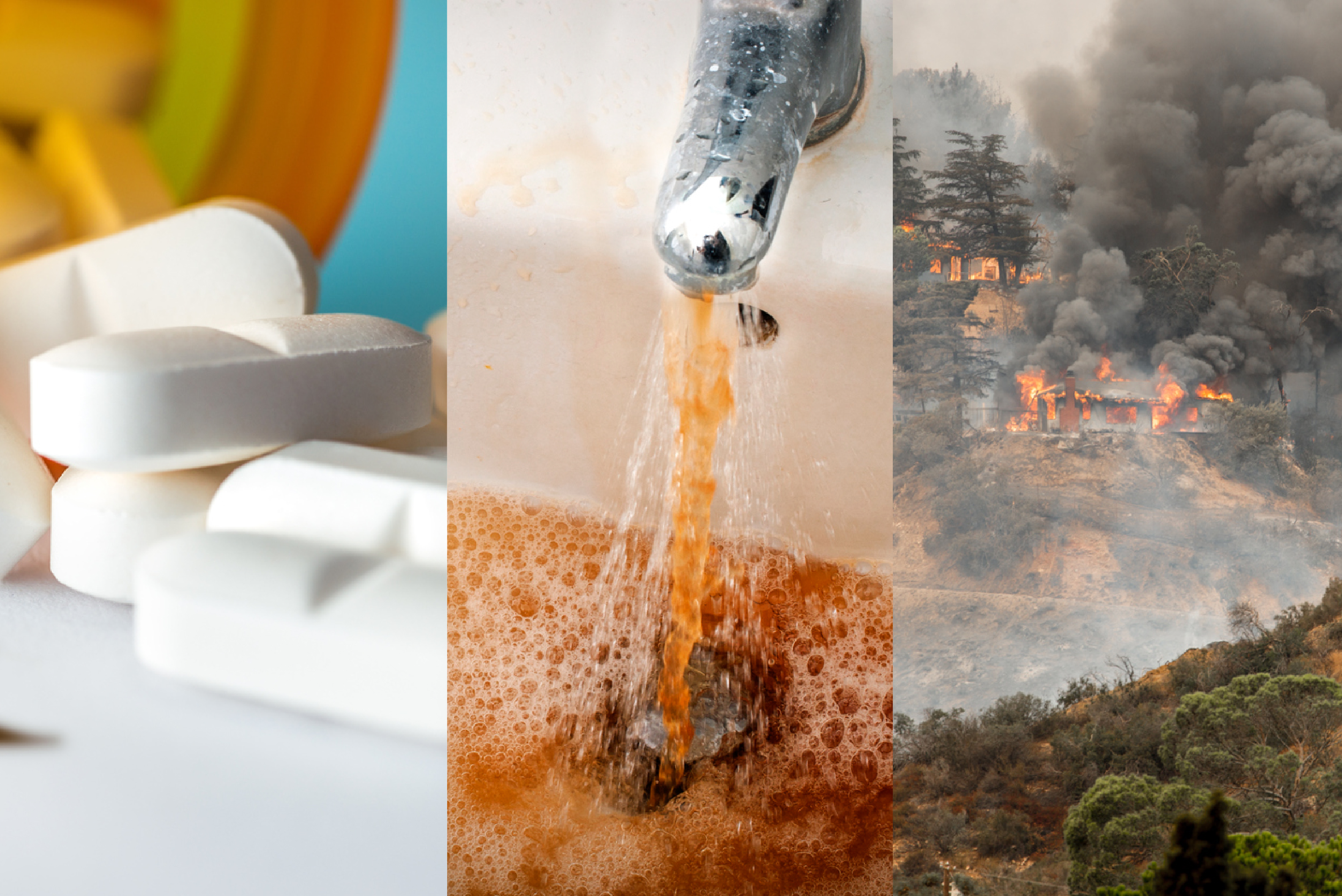 Collage of types of large-scale crimes including pills, dirty water coming out of a faucet and a forest fire